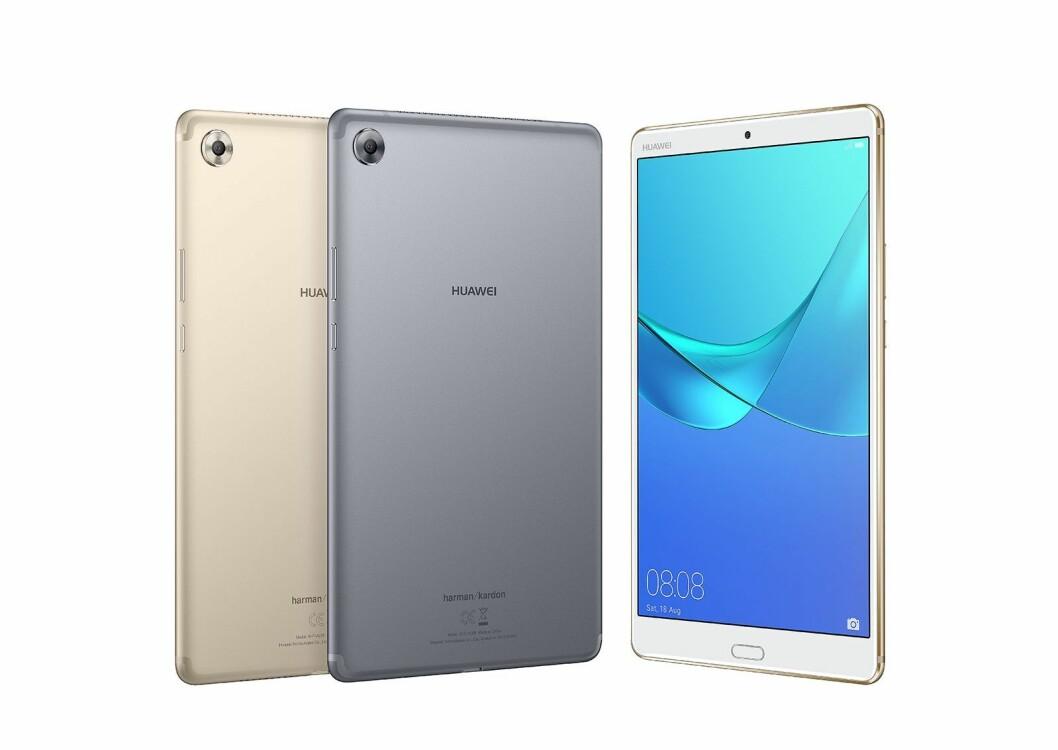 MediaPad M5 er ute i 10,8-tommers størrelse i 16:10-format, skjermen har 2K-oppløsning og 2,5D-glass. Prosessoren er en Kirin 960s, og nettbrettet kommer i to versjoner; ren wifi og med LTE. Foto: Huawei.
