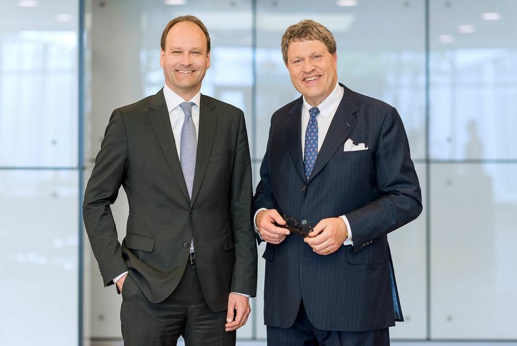 Reihard Zinkann (t. h.) deler stillingen som administrerende direktør sammen med Marcus Miele De to er oldebarn av selskapets grunnleggere. Foto: Miele.