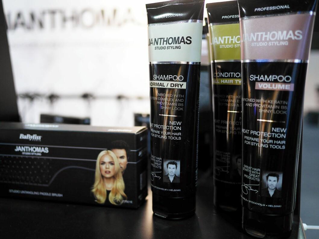 Jan Thomas brukes alene som varemerke på de våte produktene som sjampo, balsam og andre hårprodukter, mens det brukes sammen med Babyliss på de elektriske produktene. Foto: Stian Sønsteng.