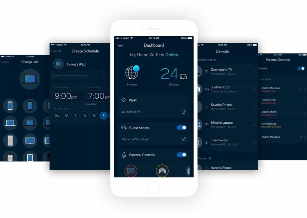 Du styrer oppsett og drift av nettverket via Linksys egen app. Foto: Linksys.