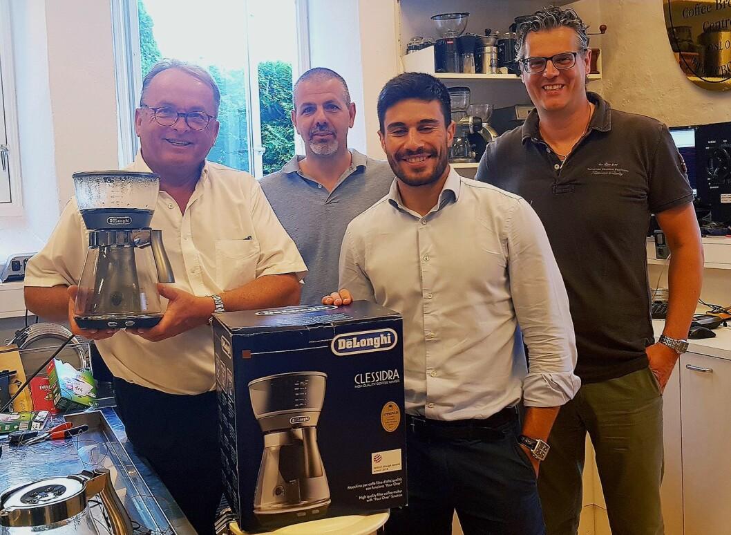 Før sommeren ble De'Longhi Clessidra godkjent av ECBC. Fra venstre Martin Vinje, Antonio Certossi, Federico Curtolo og Renzo Mazzon fra De'Longhi Italia. Foto: De'Longhi.