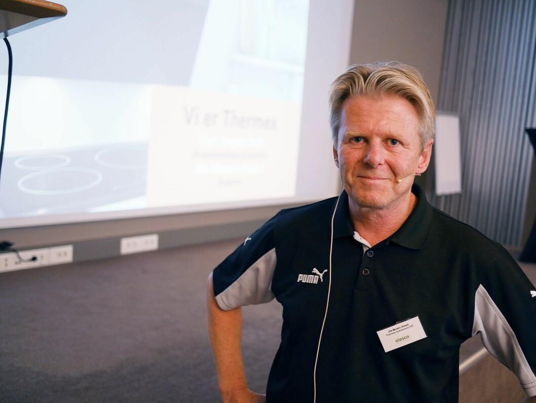 Ole Morten Alvstad i Thermex Scandinavia klar for å gå på scenen. Foto: Stian Sønsteng.
