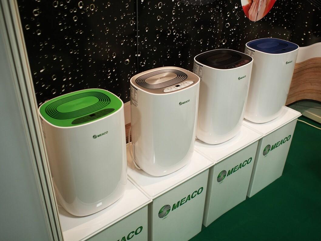 Den nye stillegående serien kompressorbaserte avfuktere fra Meaco kan fåes med i flere farger. 10 liter kapasitet, 2.500,- Foto: Jan Røsholm