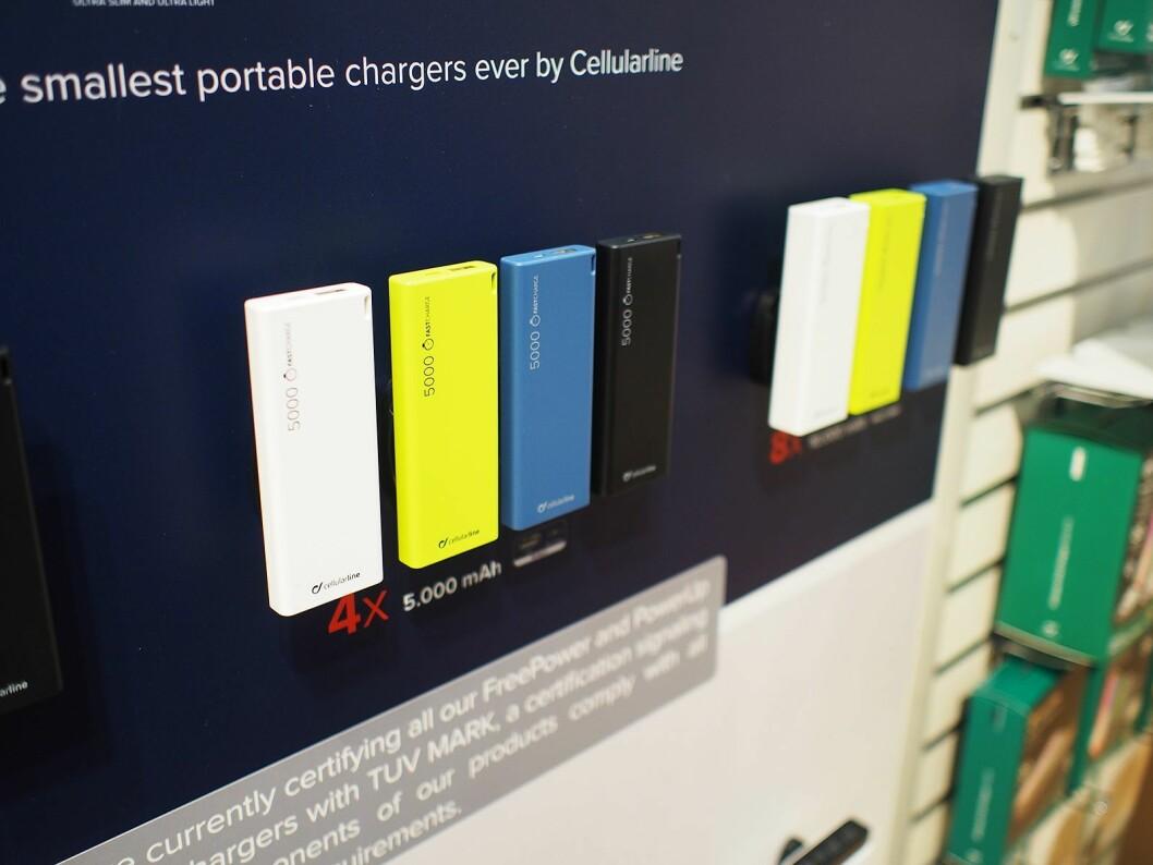 Denne TÜV-merkede batteribanken fra Cellularline på 5.000 mAh skal være verdens tynneste. Pris: 300,- Foto: Jan Røsholm.