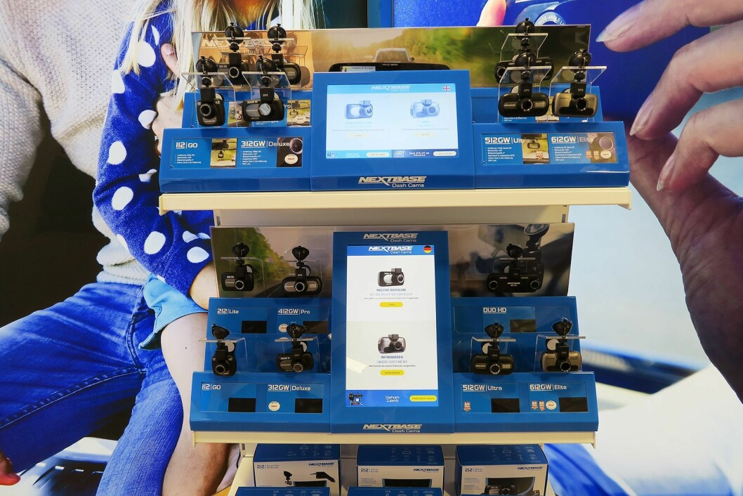 NextBase viste på IFA sine bilkamera i salgsfremmere som dette. Foto: Cathrine Pedersen.