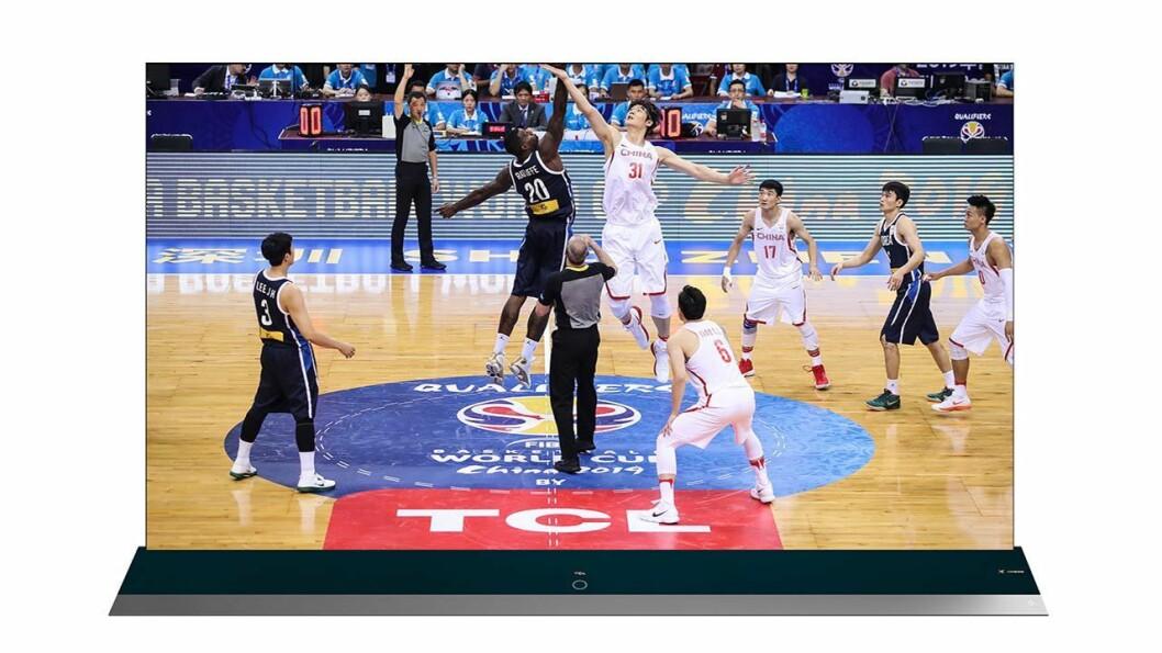 TCL skal sponse FIBA Basketball World Cup framover, og 8K-TVen er en spesialdesignet modell basert på dette samarbeidet. Foto: TCL.