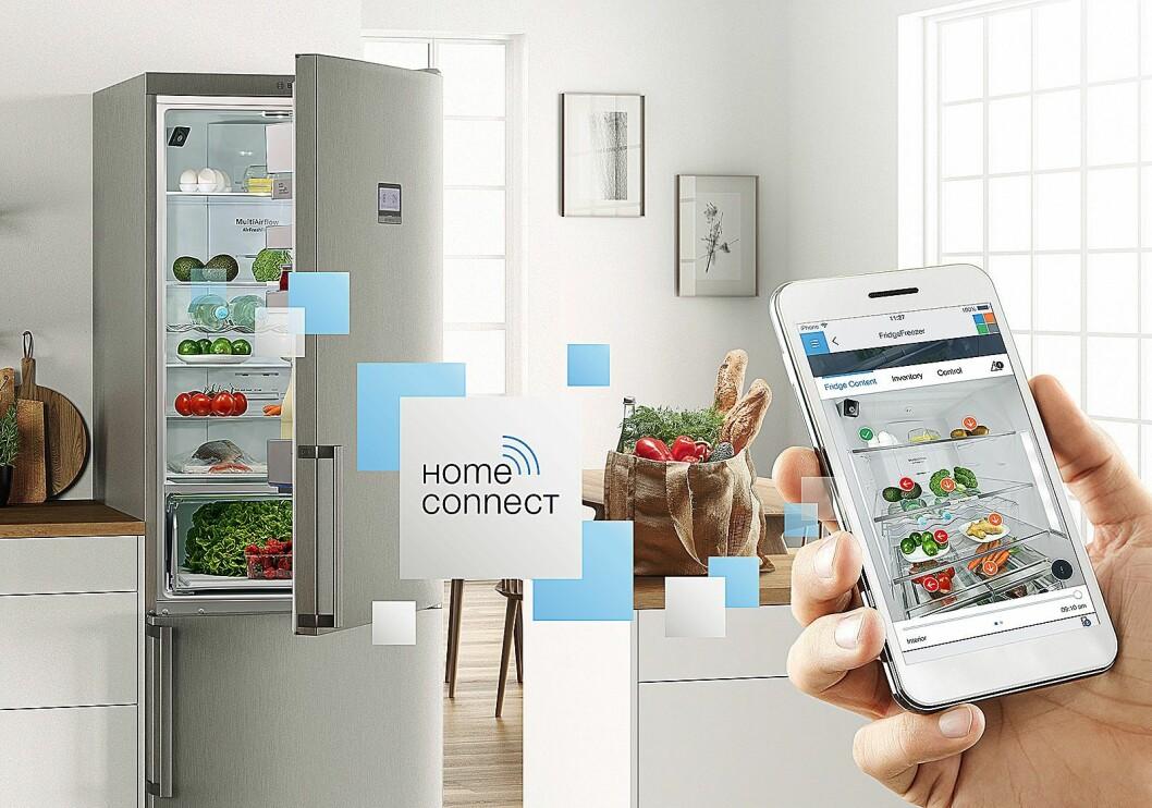 Med et smart kjøleskap og Home Connect-appen fra BSH vet kjøleskapet både hva slags frukt og grønt du har i kjøleskapet, og forteller deg hvor de bør oppbevares. Foto: BSH.