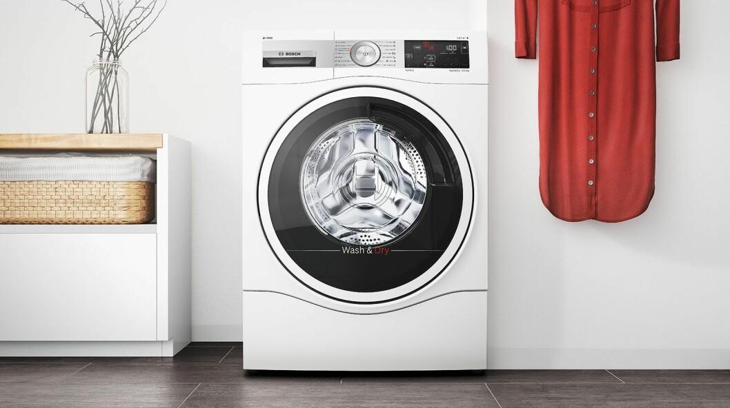 Alle vask- og tørkproduktene fra Bosch er nå blitt smarte, og kombimaskinene kan nå vaske mer og tørke raskere. Foto: BSH.