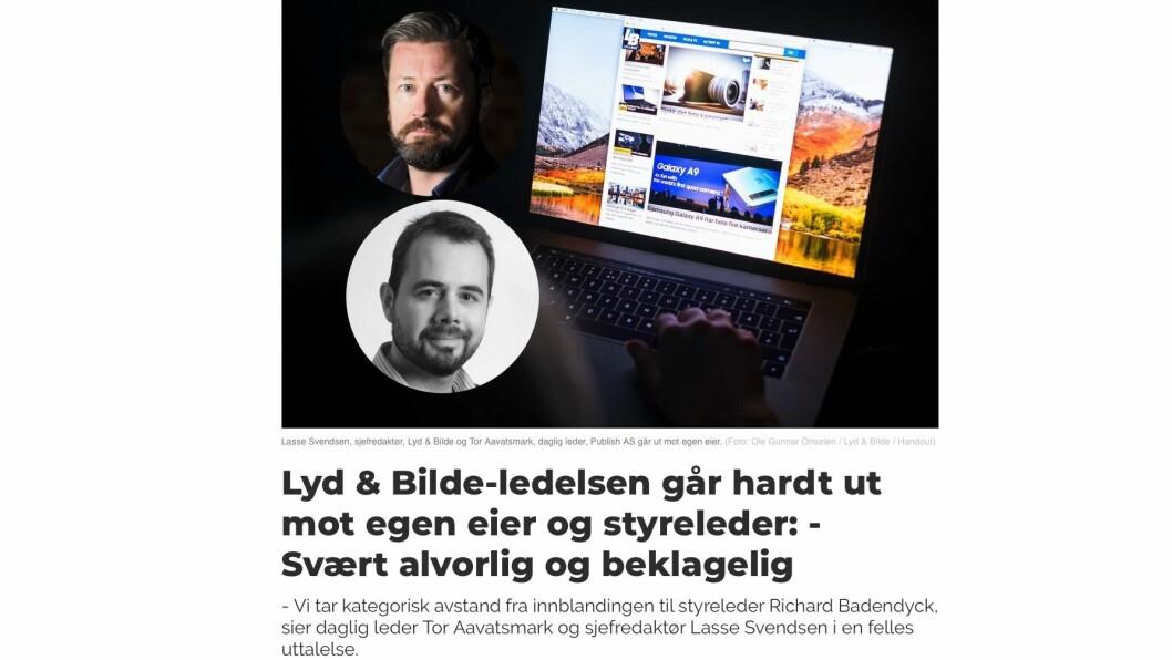 I går tok daglig leder Tor Aavatsmark (nederst) og sjefredaktør Lasse Svendsen i en felles uttalelse avstand fra innblandingen til styreleder Richard Badendyck. Skjermdump fra medier24.no.