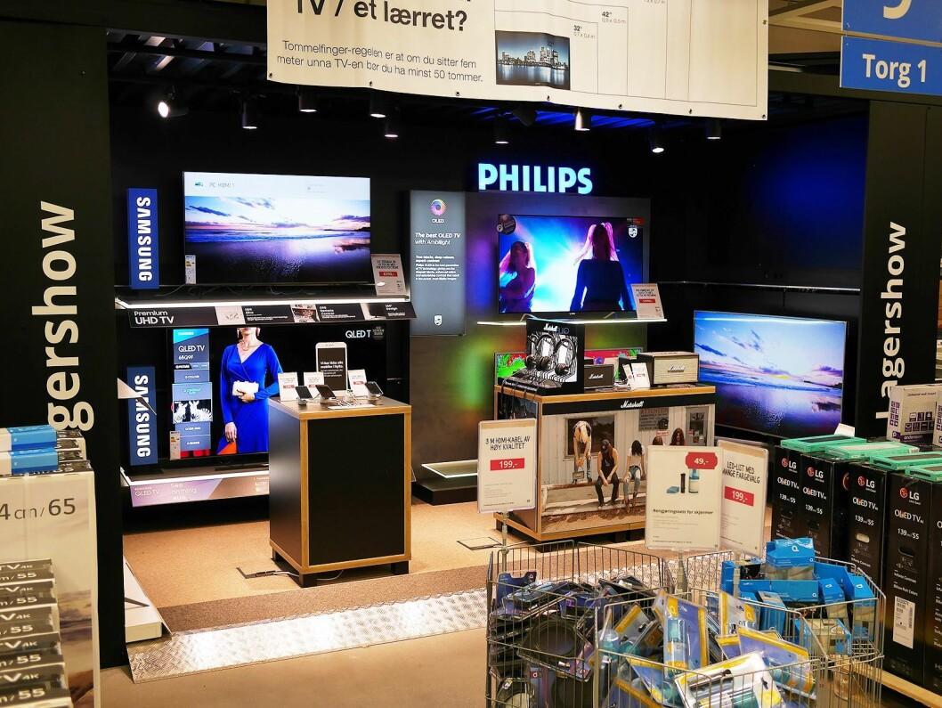 Fra TV-avdelingen ved NetOnNet Lagershop Lierskogen. Foto: Stian Sønsteng