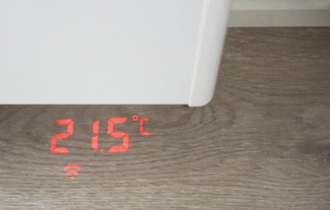 Behas nye smartovner projiserer temperatur og wifi-status på gulvet. Foto: Beha.