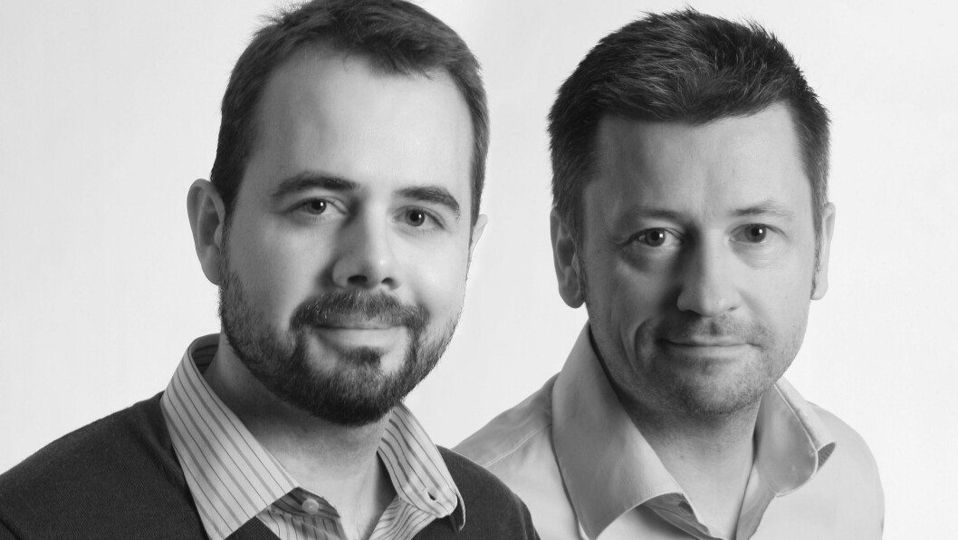 Daglig leder Tor Aavatsmark (t. v.) i Publish AS og sjefredaktør Lasse Svendsen i Lyd & Bilde. Foto: Lyd & Bilde