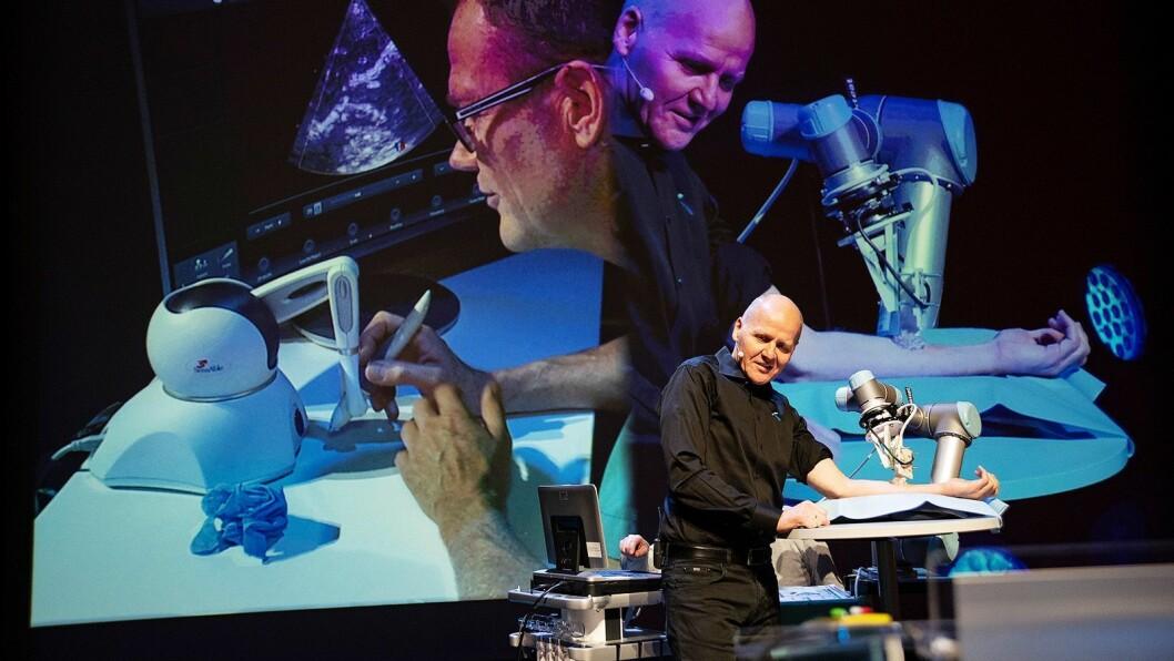 Konsernsjef Sigve Brekke i Telenor fikk demonstrert fjerndiagnostikk i praksis da 5G-piloten ble åpnet på Kongsberg. Foto: Telenor