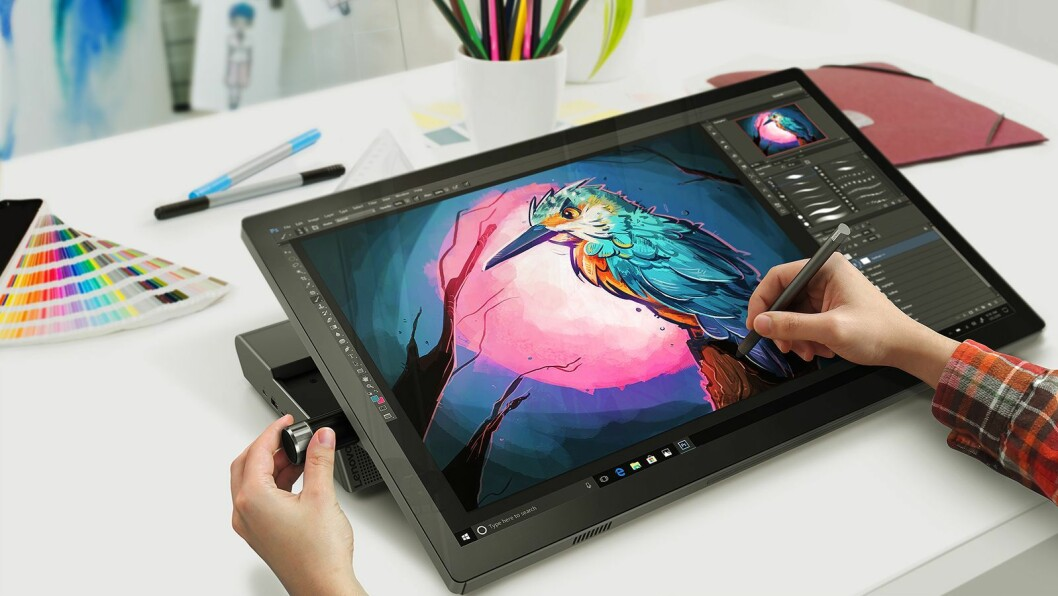 I det semi-proffe markedet kommer Lenovo med Yoga A940, en PC for designere og entusiaster som retter seg mot samme kundegruppe som Microsoft Studio, men for en betraktelig lavere sum på rundt 2.000 dollar. Foto: Lenovo.