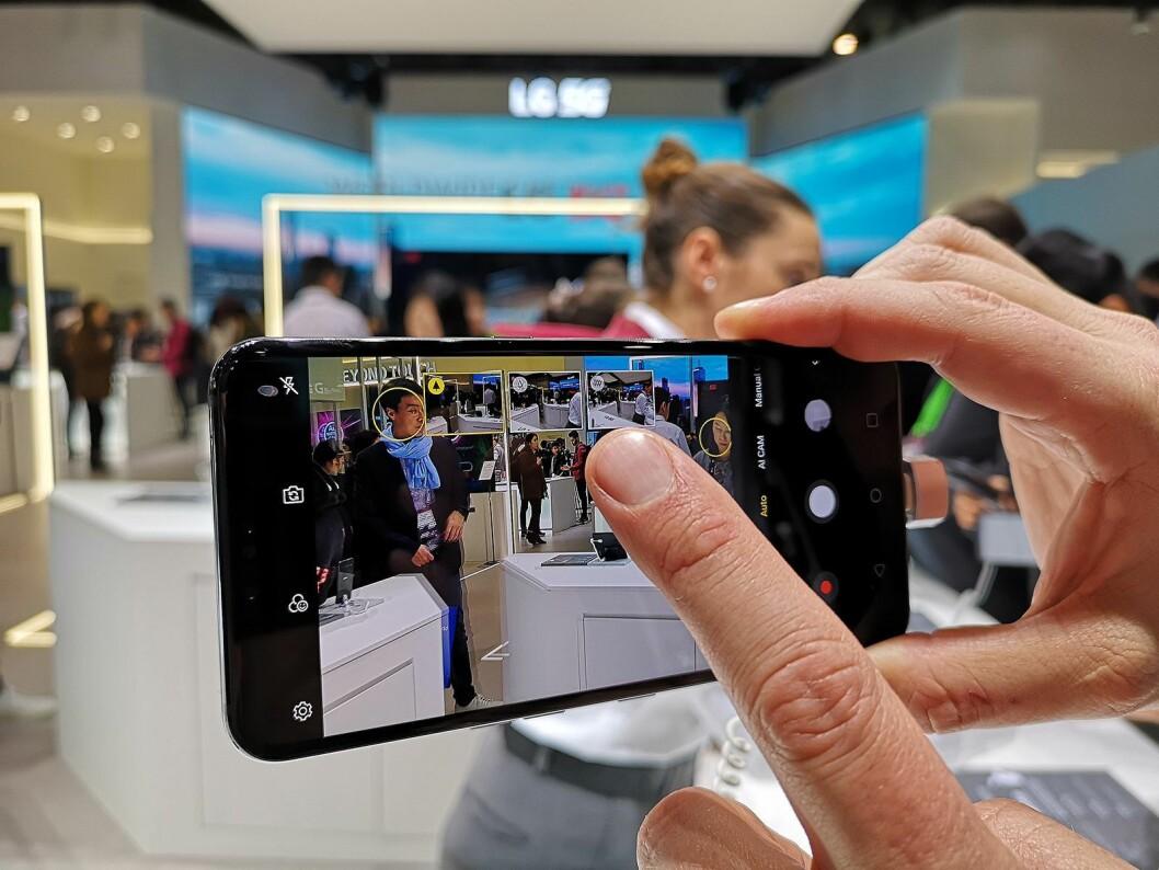 De tre kameraene i G8s ThinQ gir ulike utsnitt, og du kan velge ønsket motiv rett i kameraet. Foto: Marte Ottemo.