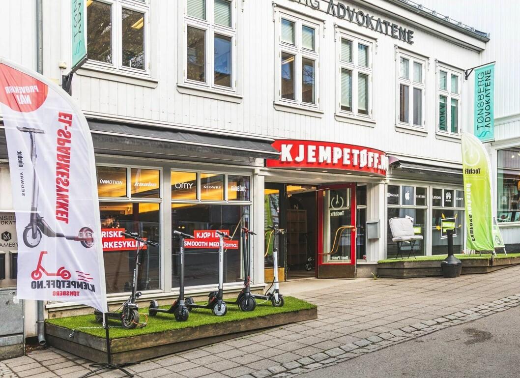 Kjempetøff.no har åpnet ny stor butikk i Tønsberg sentrum. Foto: Andrè Askeland