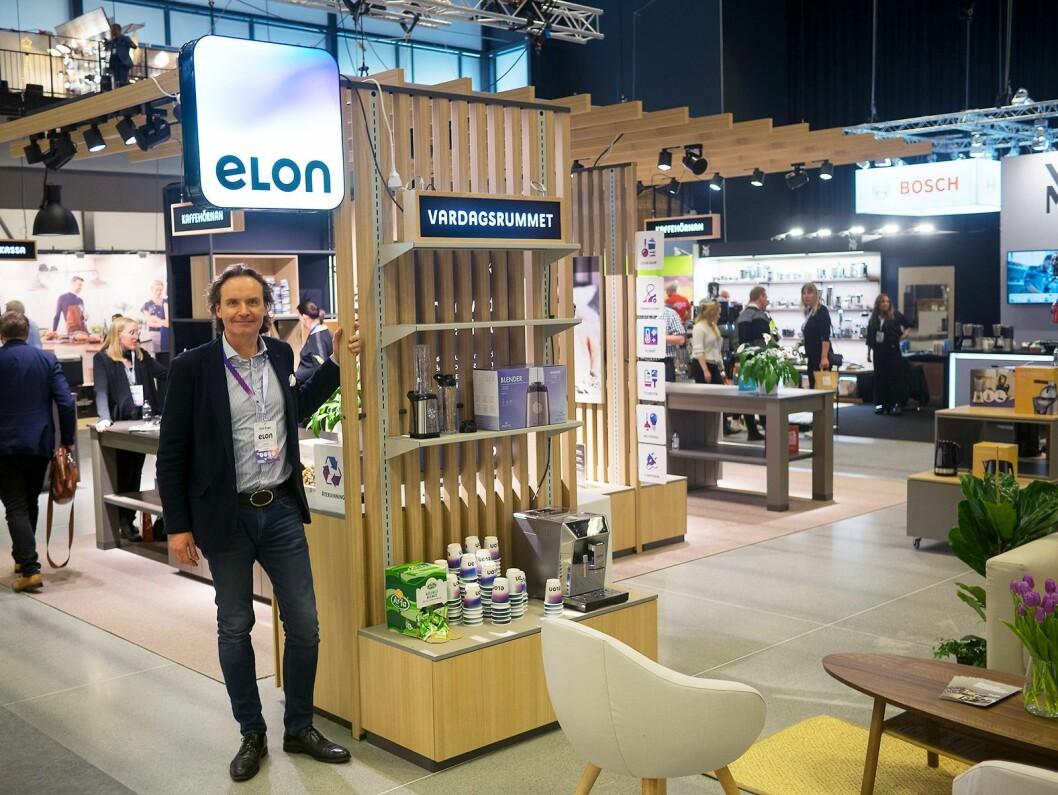 Stefan Lebrot, administrerende direktør og konsernsjef i Elon Group ved det nye butikk-konseptet på Elon Expo 2019. Foto: Ola Larsson