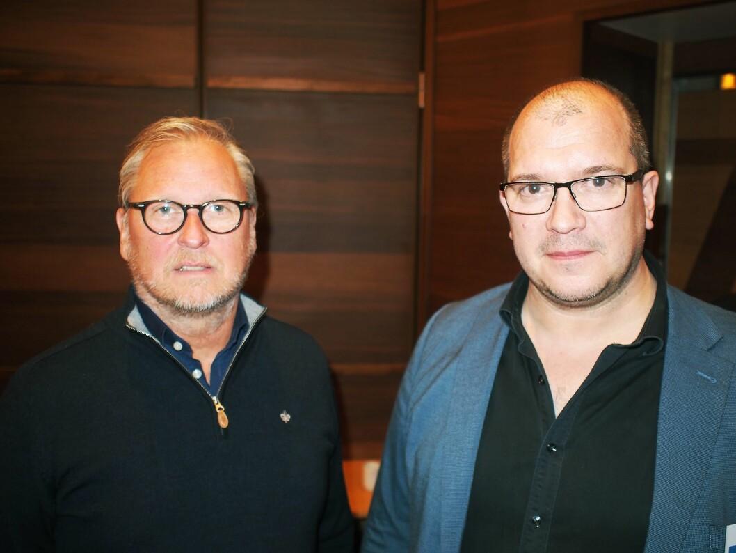 Håkan Johansson (t. v.) og Seppo Tanskanen fra Reclaimit AB fokuserte på mobil tilgang til datasystemer i sitt innlegg. Foto: Jan Røsholm.