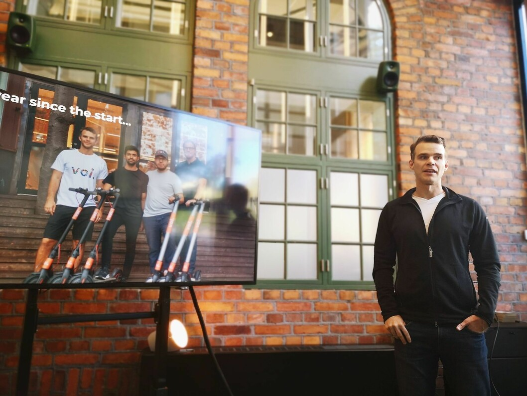 Voi-gründer Fredrik Hjelm og hans partnere har vokst selskapet svært raskt, og har på tre måneder rundt tre millioner kjøreturer under beltet. Foto: Marte Ottemo
