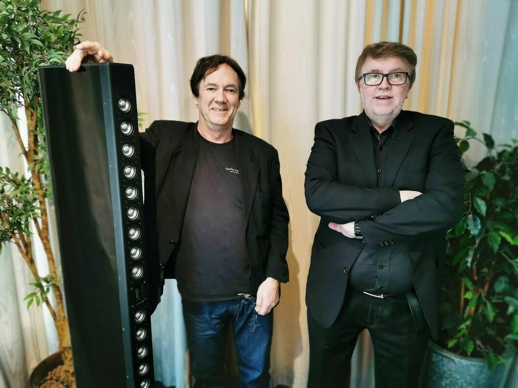 Geir Fredriksen (t. v.) og Geir Tømmervik har arbeidet med Adyton nesten siden starten i 1979. Her med de nye Gracili-høyttalerne. Pris per par: 199.000,- Foto: Stian Sønsteng
