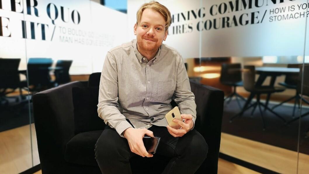 PR-ansvarlig i OnePlus Norden, Stefan Bonnevier, var i Oslo for å lansere selskapets nye flaggskip, OnePlus 7 Pro. Foto: Marte Ottemo