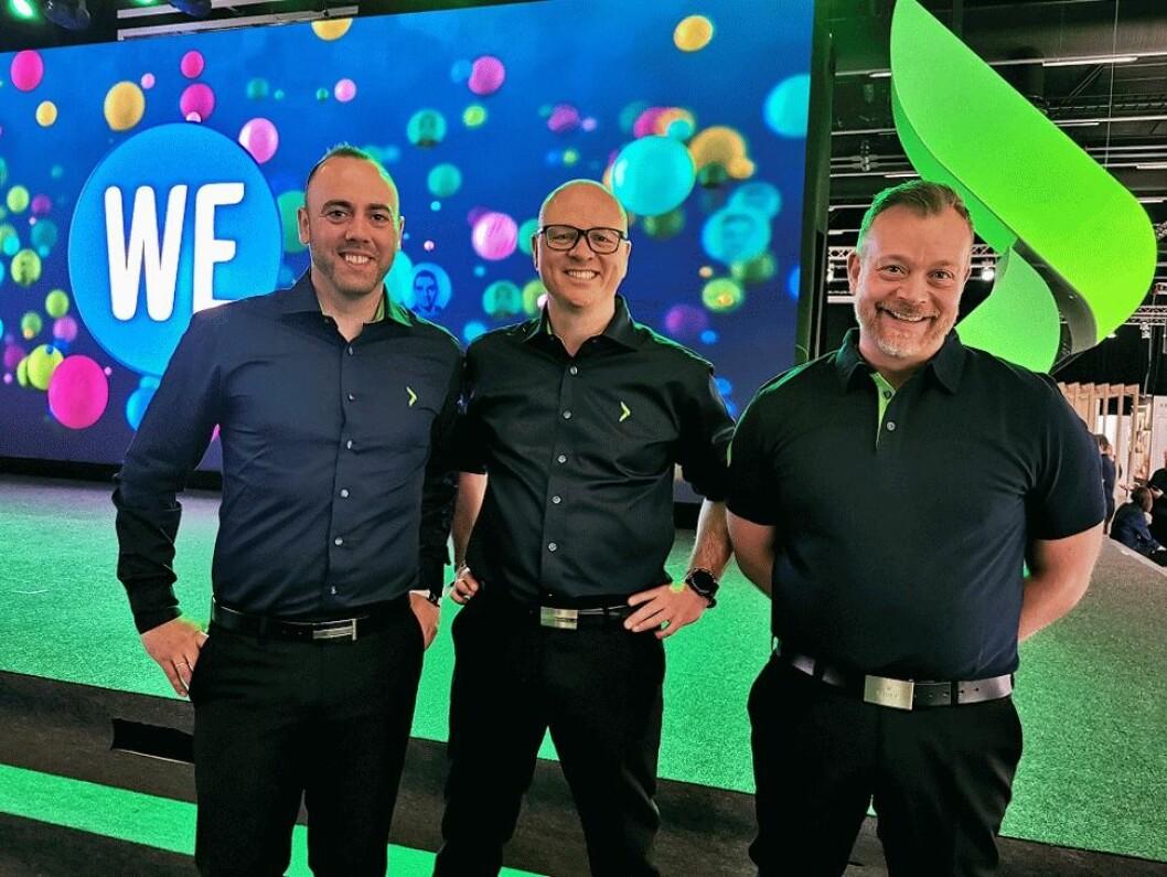 – «We» er gjennomgangsordet på Campus Home, sier Christian Nævdal (f. v.), Tommy Myhre og Espen Nordheim, Elkjøps nordiske direktører for småelektriske produkter. Foto: Stian Sønsteng.