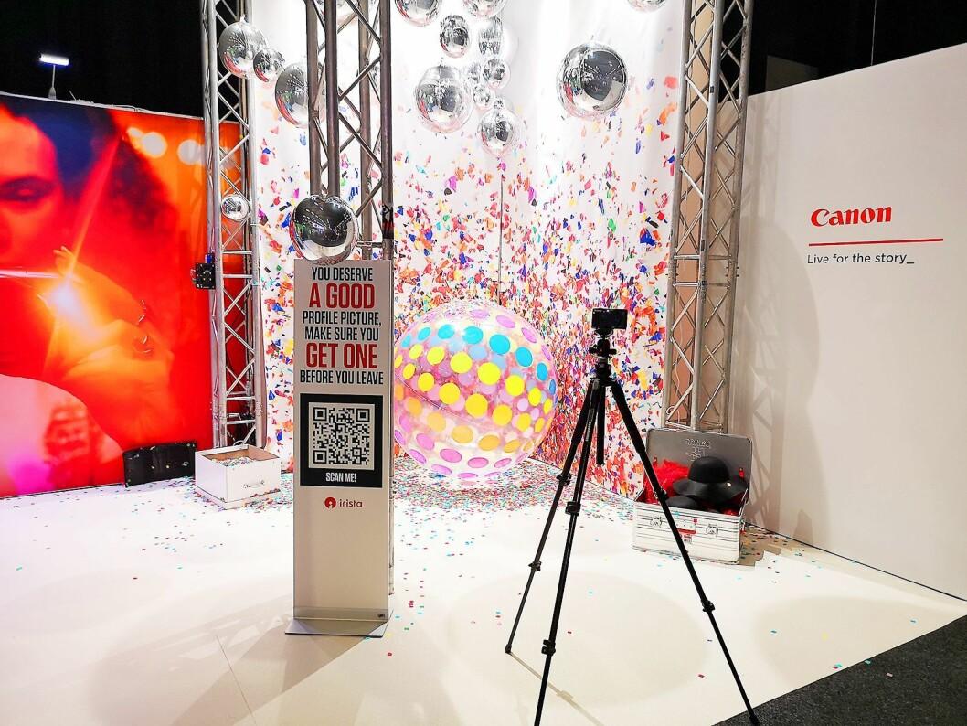 Canon lokker med egen fotovegg under Campus-messen. Foto: Marte Ottemo.