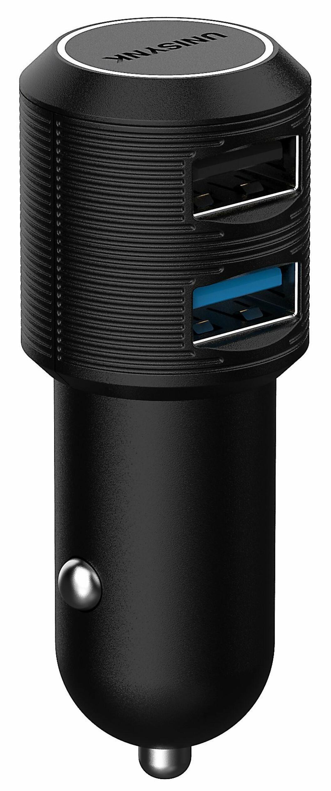 Unisynk dual USB billader QC3/2.4A. Pris: 280,-.