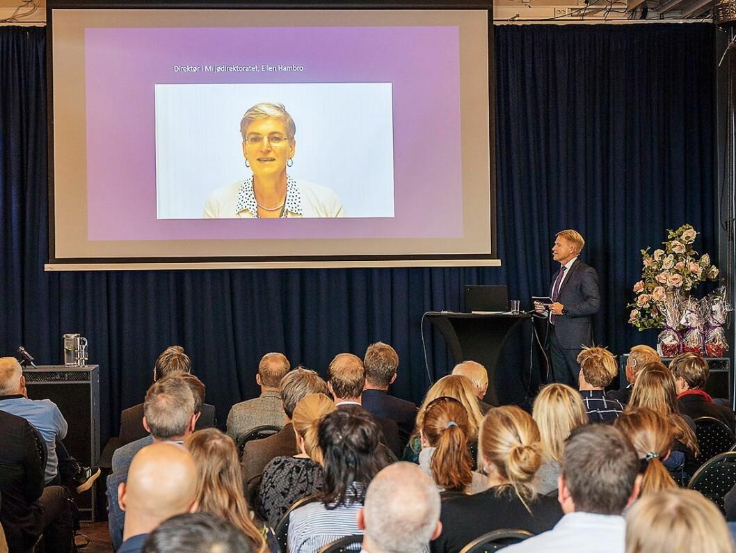 Ellen Hambro, leder i Miljødirektoratet i Norge, var med på videolink under Norsirks konferanse. Foto: Norsirk/Simen Berg.