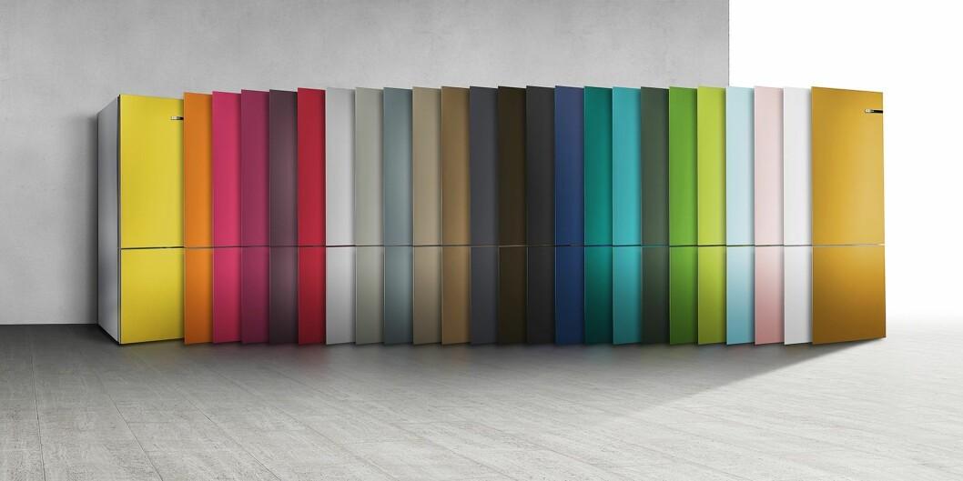 Kjøleskapet VarioStyle har utskiftbare fronter, så du kan velge farge etter humør. Foto: BSH.
