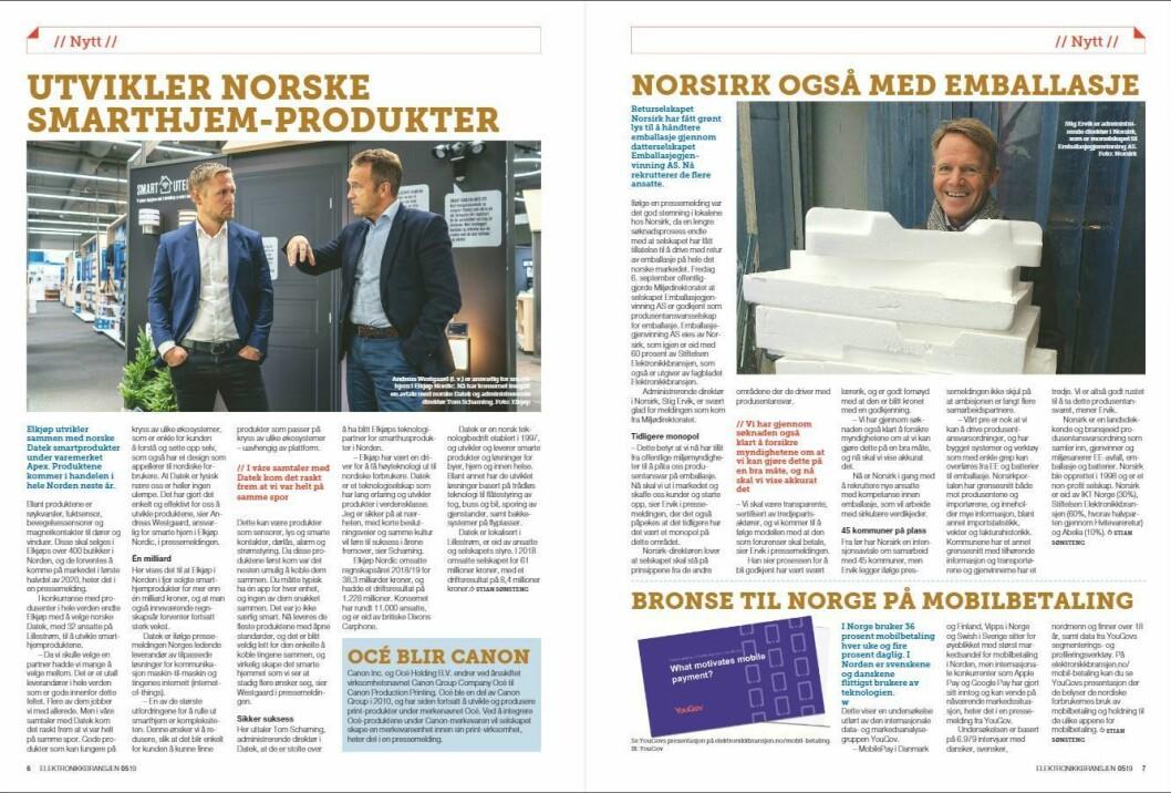 """Artikkelen ble første gang publisert i papirutgaven av fagbladet Elektronikkbransjen nr. 5/2019, som ble distribuert 9. oktober. <a href=""""http://www.mypaper.se/html5/customer/248/12614/?page=6"""" target=""""_blank"""" rel=""""noopener"""">Her kan du lese artikkelen</a> og bla gjennom digitalutgaven av bladet. Du kan lese alle utgaver av bladet digitalt, fra og med nr. 1/1937, på <a href=""""https://www.elektronikkbransjen.no/historiskarkiv"""" target=""""_blank"""" rel=""""noopener"""">elektronikkbransjen.no/historiskarkiv</a>."""