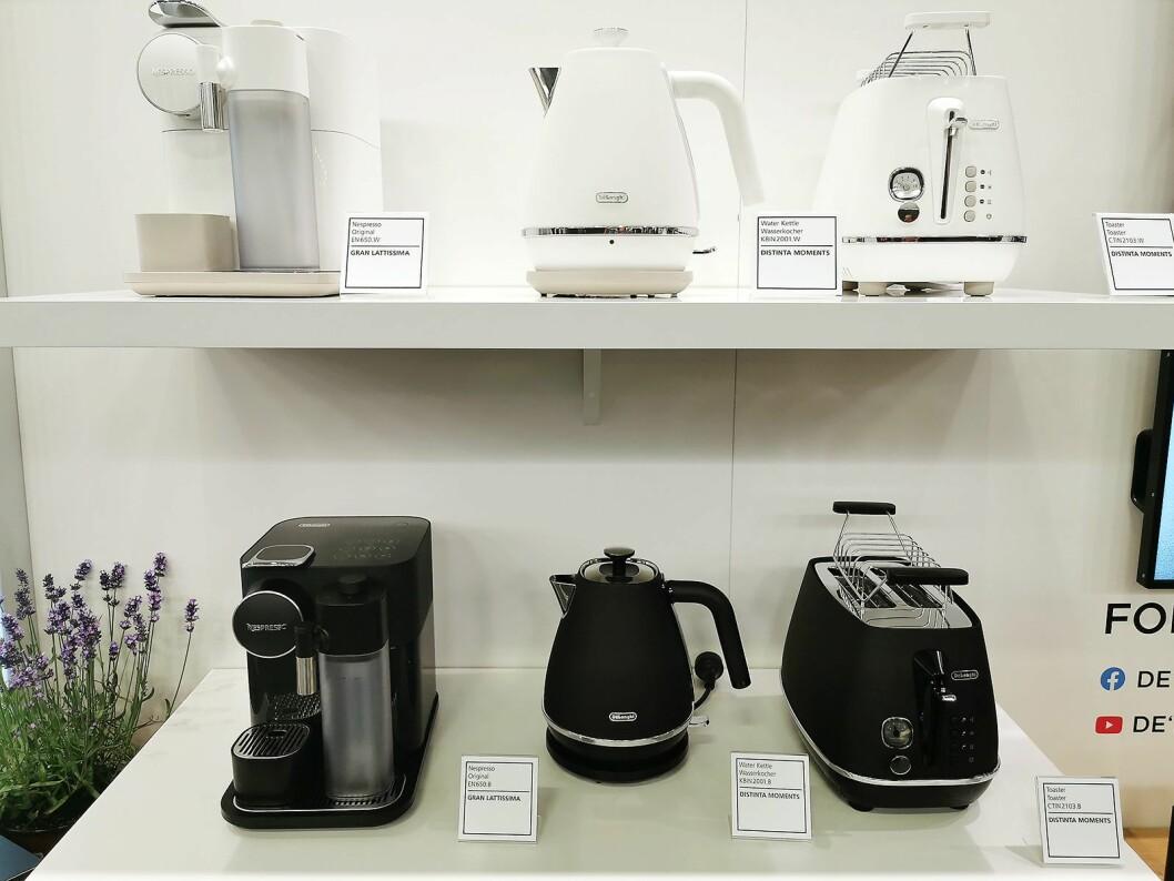 De'Longhi produserer Nespressos toppmodell Gran Lattissima, og på IFA viser de denne sammen med De'Longhi Distinta Moments-serien. Foto: Stian Sønsteng.