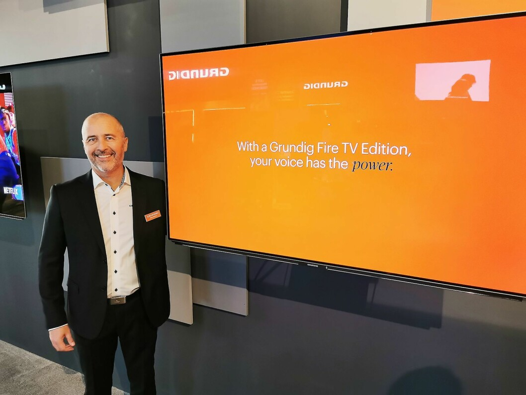 Norsk salgssjef Ståle Braathen i Grundig gleder seg til de første TVene med Amazons smart-TV-løsning Fire TV kommer på markedet, trolig om et års tid. Foto: Stian Sønsteng