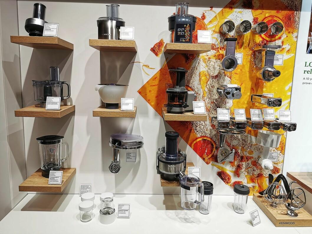 På IFA viste De'Longhi rundt 20 av de totalt 30 utstyrsdelene som finnes til Kenwoods kjøkkenmaskiner. Foto: Stian Sønsteng.
