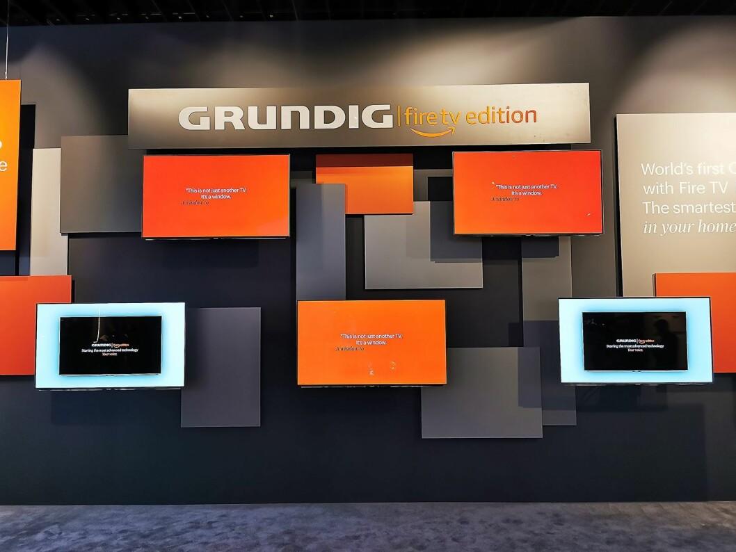 Fire TV fra Amazon var den store nyheten hos Grundig på IFA. Produktene må vi derimot vente et års tid på før de kommer til Norge. Foto: Stian Sønsteng.