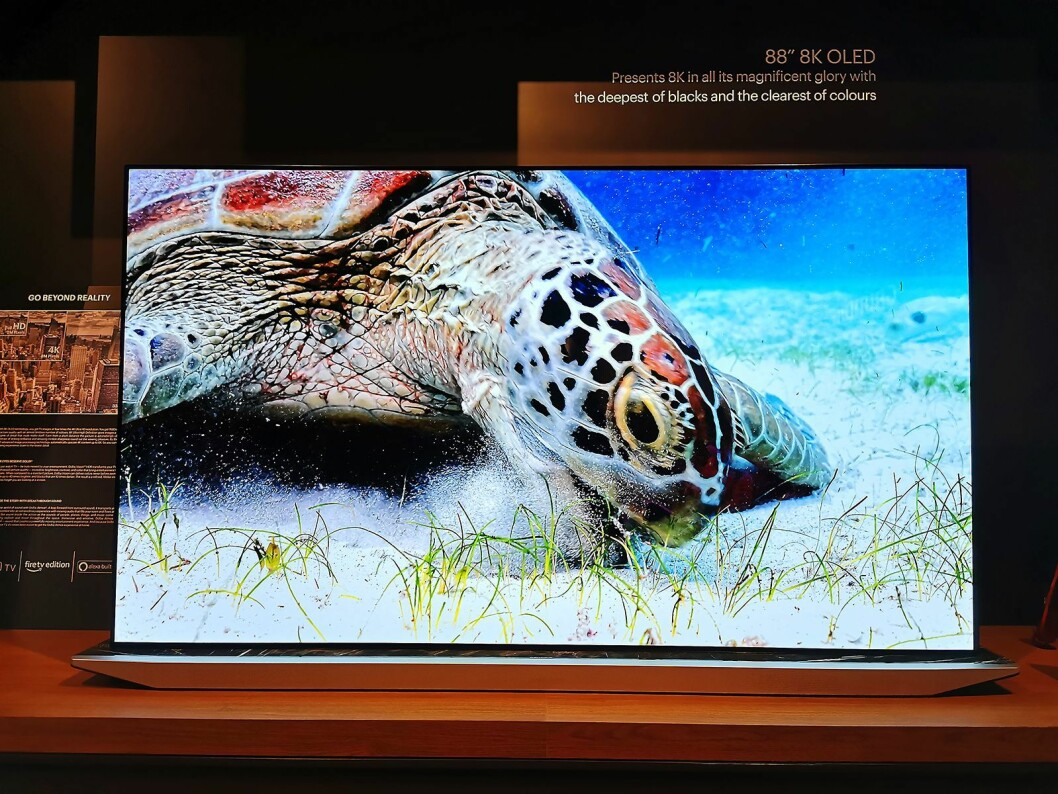 Grundigs viste en 8K oled-TV på IFA. Det vil derimot ta tid før selskapet slipper oled og 8K i det nordiske markedet. Foto: Stian Sønsteng.