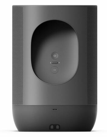 Move er den første batteridrevne utendørshøyttaleren til Sonos. Den har to klasse D digitale forsterkere, én diskant og én mid-woofer. Batteriet skal tåle 900 ladesykluser, og kan skiftes ut. Pris: 4.000,- Foto: Sonos.