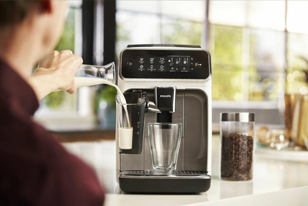 Den nye, patenterte melkeskummeren på Philips 3200 Lattego har bare to deler, og kan vaskes i oppvaskmaskin. Foto: Philips.