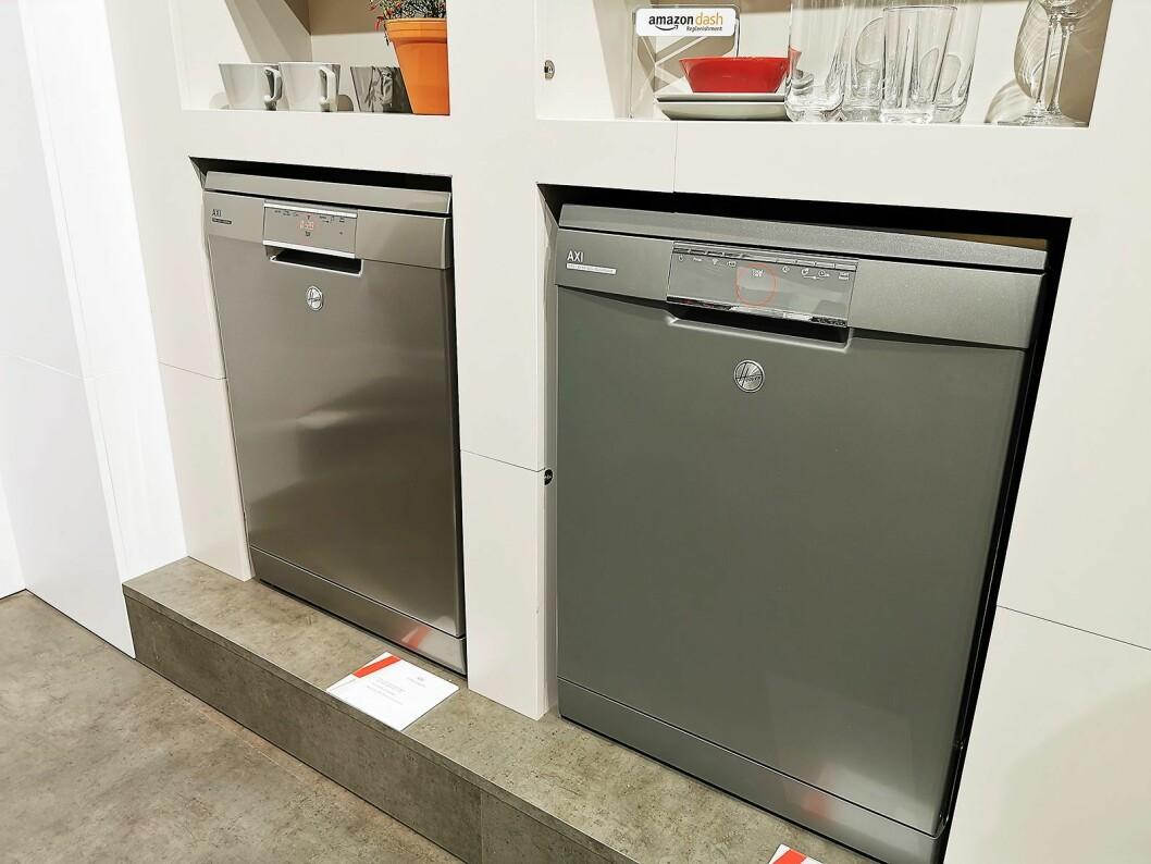 Oppvaskmaskinene i Hoover AXI-serien har stemmestyring fra Google og Amazon, samt Hoovers egen der man kan snakke direkte til maskinen. Kapasiteten er 16 kuverter. Foto: Stian Sønsteng.