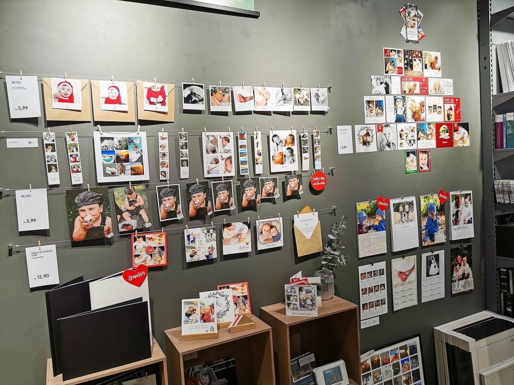 Slik viser Elite Foto i Sandvika storsenter sine ekspressprodukter. Foto: Stian Sønsteng.