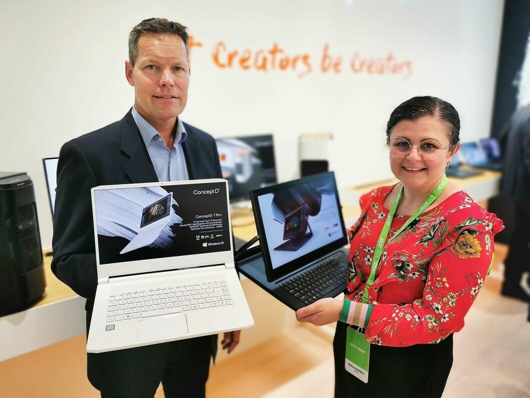 Magnus Lilja og Ekaterina Bakhbava i Acer med ConceptD 7 Pro og ConceptD 9. Foto: Stian Sønsteng