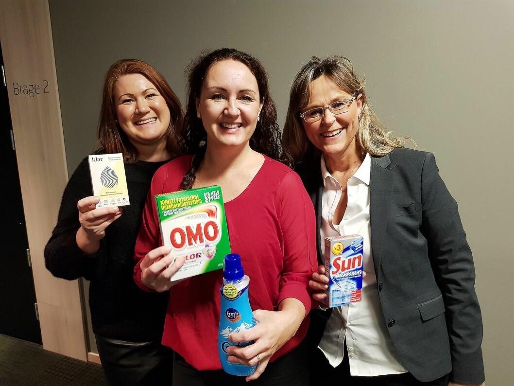 Orklas kundeservice er fast innslag på Hvitevaredagene, her representert med Mari Avalos (f. v.), Malin Skar og Berit Fosshaug. Foto: Jan Røsholm.