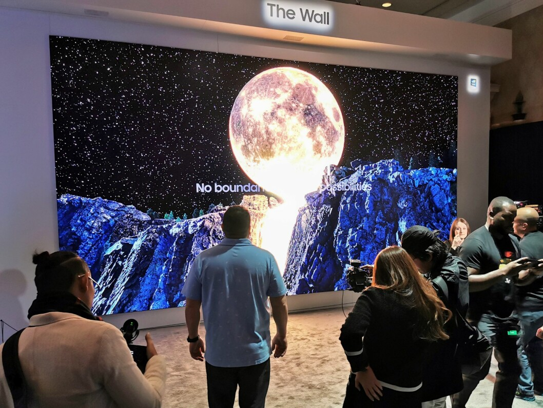 Samsungs The Wall, med microled-plater, ble under CES vist i 292 tommer. Foto: Stian Sønsteng.