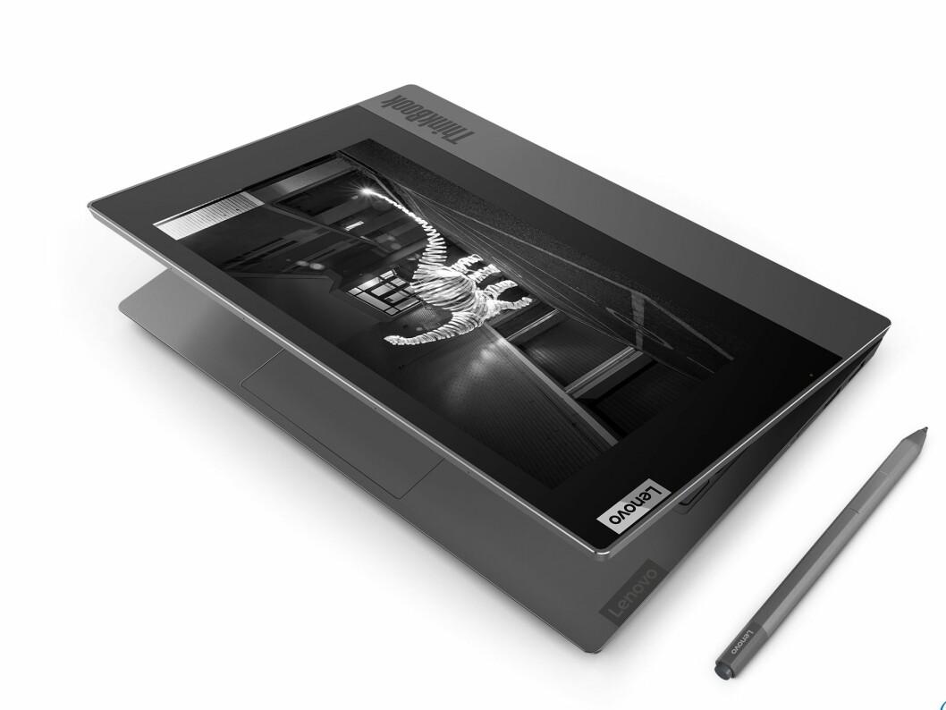 Thinkbook Plus lar deg skrive og tegne på skjermen med medfølgende penn. Foto: Lenovo.