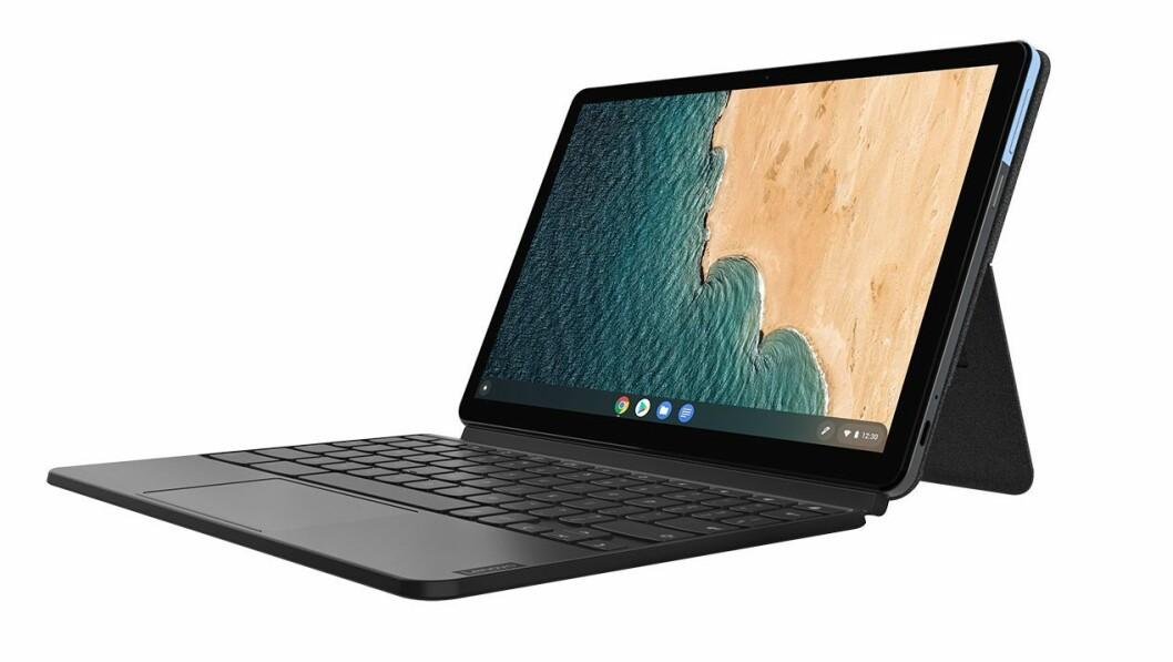 Lenovo Ideapad Duet har to skjermer og batteritid på opp til ti timer. Foto: Lenovo.