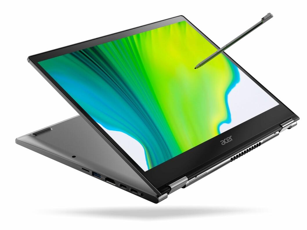 Acer Spin 5 har 13,5 tommer skjerm og 360-graders hengsling. Foto: Acer.