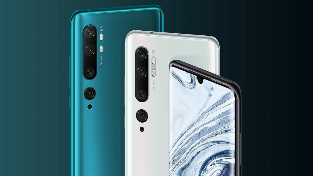 Xiaomi Mi Note 10 og 10 Pro har fem kameraer, rammen i glass og aluminium. Hovedforskjellen er lagringsplass (128 og 256 GB) og minne (6 og 8 GB RAM), samt linsestrukturen til hovedkameraet. Kamera bak: 108, 12, 5, 20 MP og 2 MP. Kamera foran: 32 MP. Batteriet på 5.260 mAh støtter hurtiglading. Pris: 5.300 og 6.300 kroner. Foto: Xiaomi