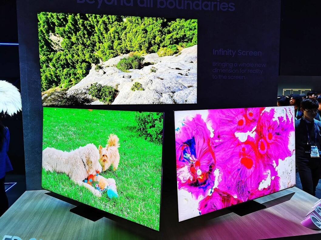 Toppmodellen Q950TS har Infinity Screen, der skjermen utgjør 99 prosent av fronten på TVen, med QLED 8K i størrelsene 65, 75 og 85 tommer. Foto: Stian Sønsteng.