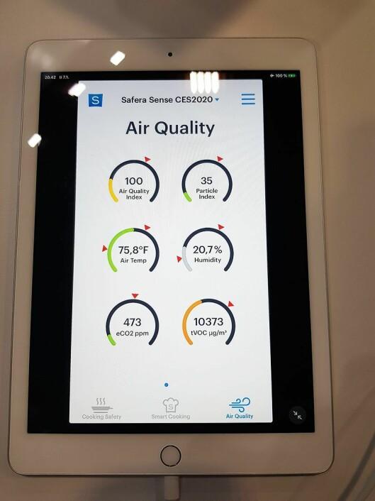 På den medfølgende appen får brukeren all informasjon om luftkvaliteten. Foto: Jan Røsholm.