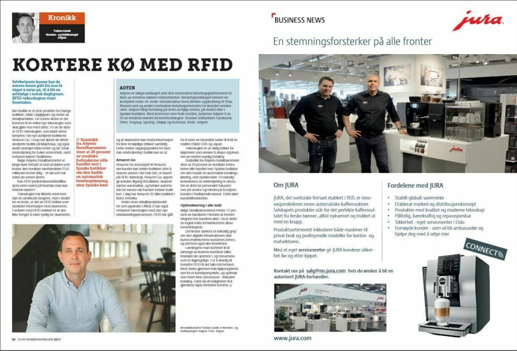 """Artikkelen ble første gang publisert i papirutgaven av fagbladet Elektronikkbransjen nr. 2/2020, som ble distribuert 14. april. <a href=""""https://www.mypaper.se/html5/customer/248/12832/?page=90"""" target=""""_blank"""" rel=""""noopener"""">Her kan du lese artikkelen</a> og bla gjennom digitalutgaven av bladet. Du kan lese alle utgaver av bladet digitalt, fra og med nr. 1/1937, på <a href=""""https://www.elektronikkbransjen.no/historiskarkiv"""" target=""""_blank"""" rel=""""noopener"""">elektronikkbransjen.no/historiskarkiv</a>."""